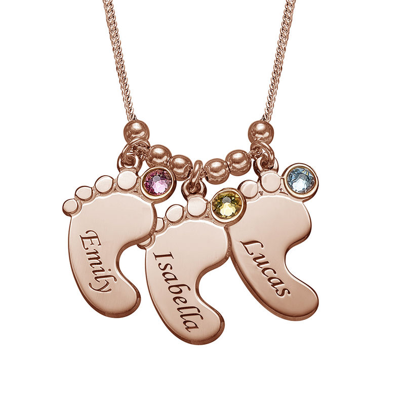 Baby Feet Necklace with Birthstones in Rose Gold Plating
