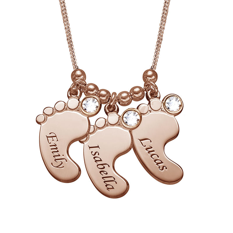 Baby Feet Necklace with Birthstones in Rose Gold Plating - 1