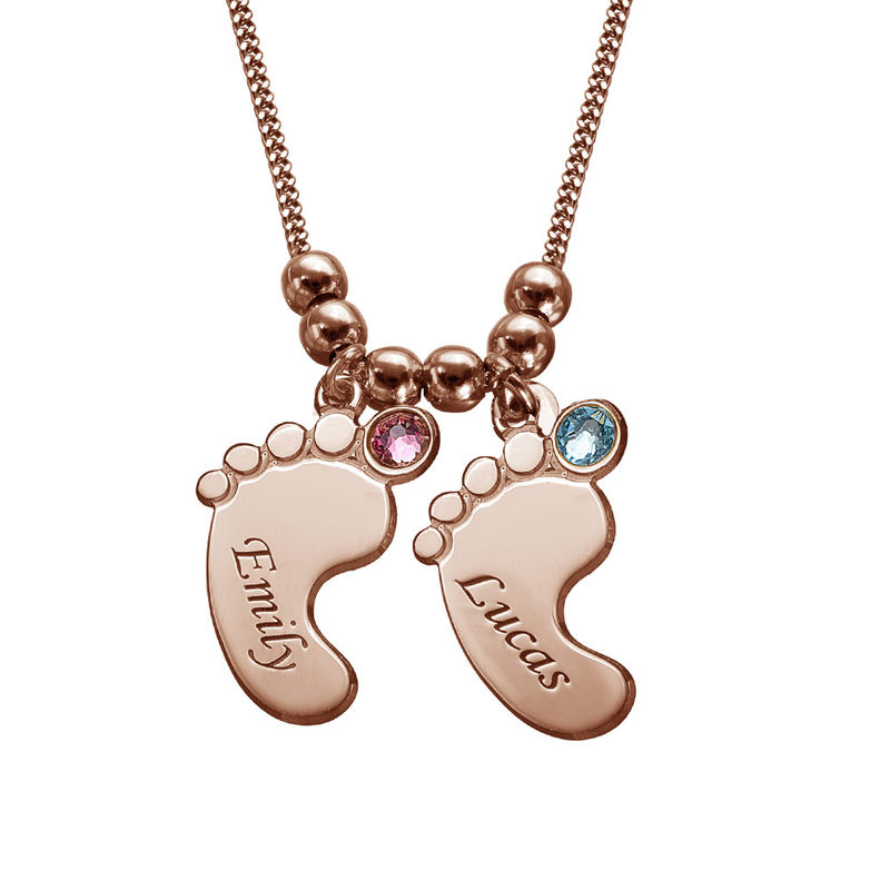 Baby Feet Necklace with Birthstones in Rose Gold Plating - 2