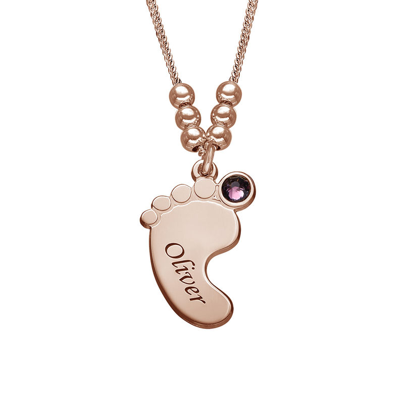 Baby Feet Necklace with Birthstones in Rose Gold Plating - 3