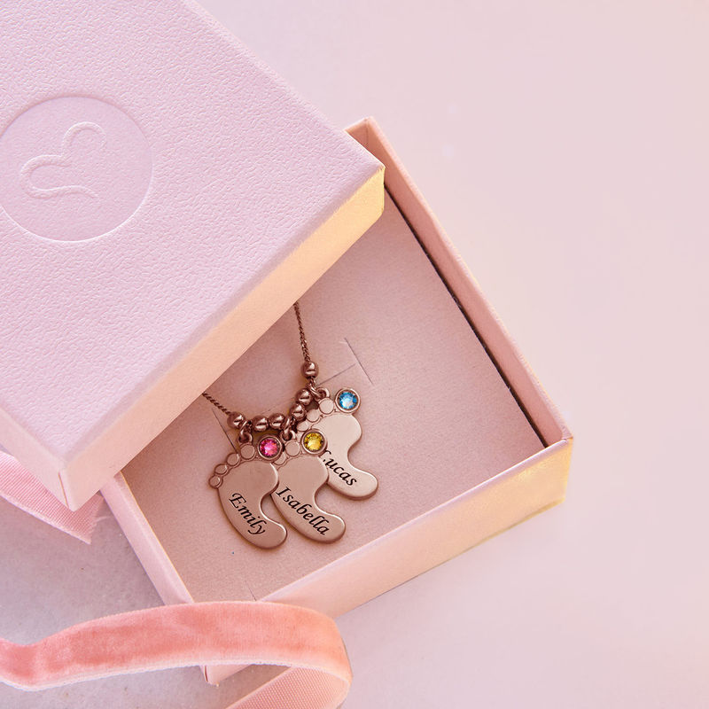 Baby Feet Necklace with Birthstones in Rose Gold Plating - 7