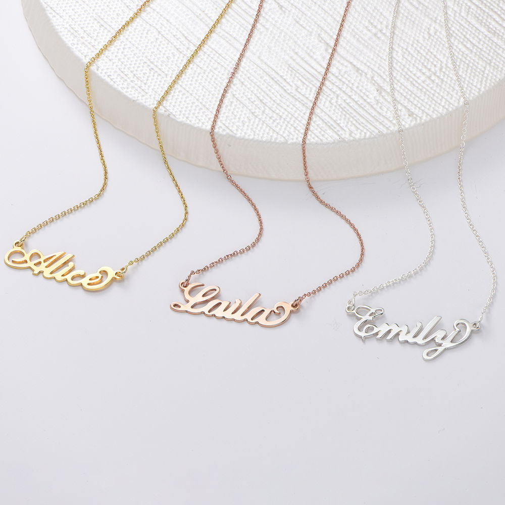 Small Sterling Silver Carrie Style Name Necklace - 2