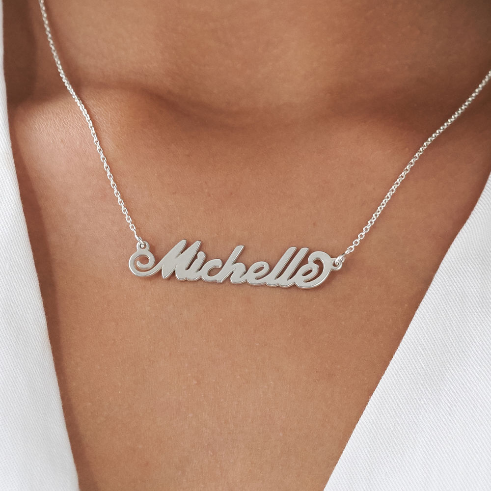 Small Sterling Silver Carrie Style Name Necklace - 4