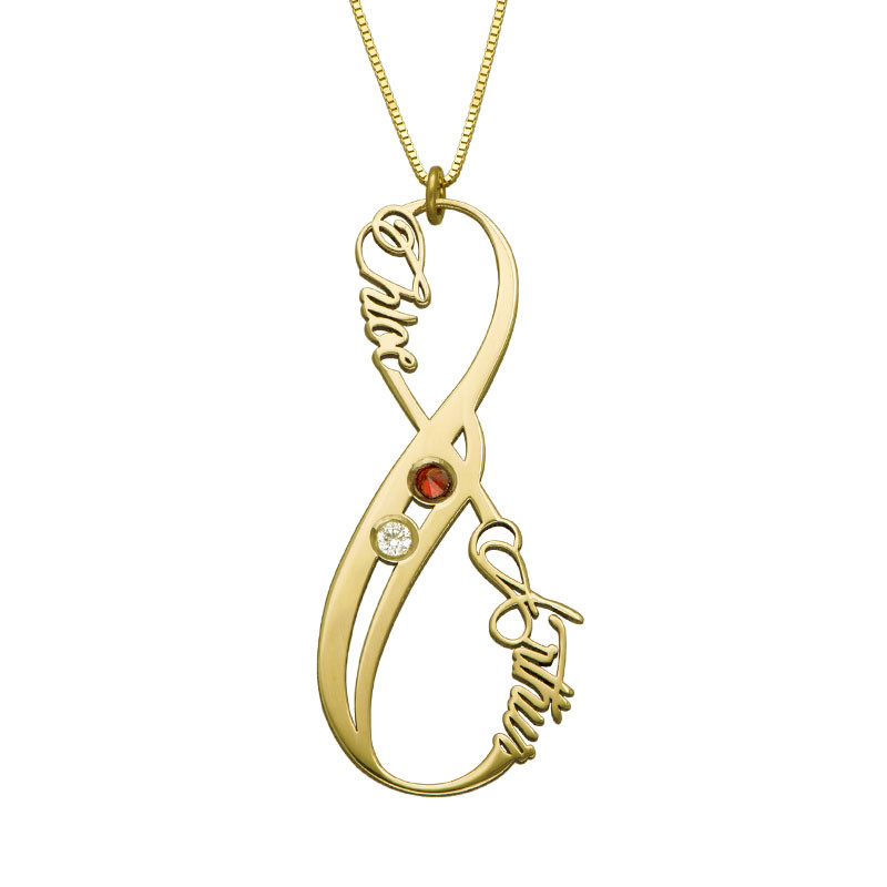 Vertical Infinity Name Necklace 14ct Yellow Gold with Birthstones