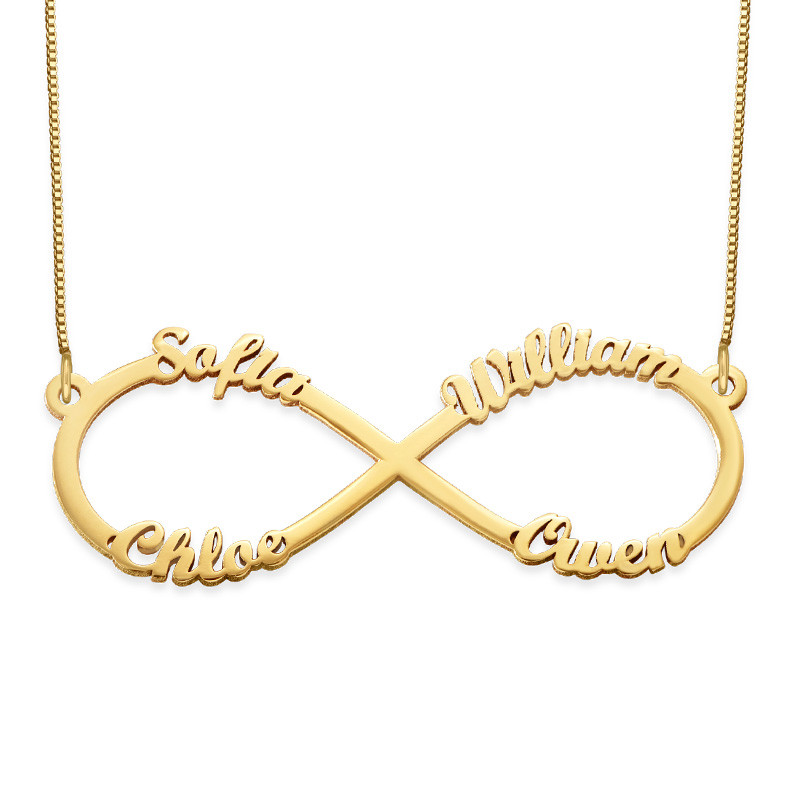 Infinity necklace with multiple names – 14ct gold