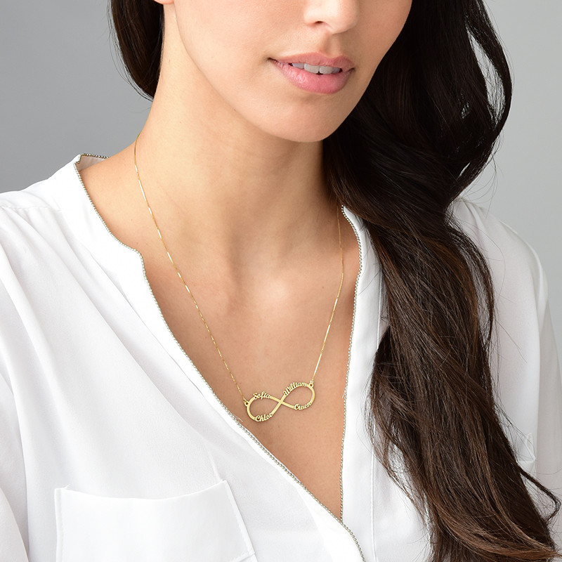 Infinity necklace with multiple names – 14ct gold - 3