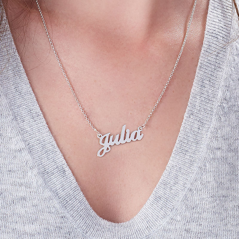 Small Sterling Silver Classic Name Necklace - 5