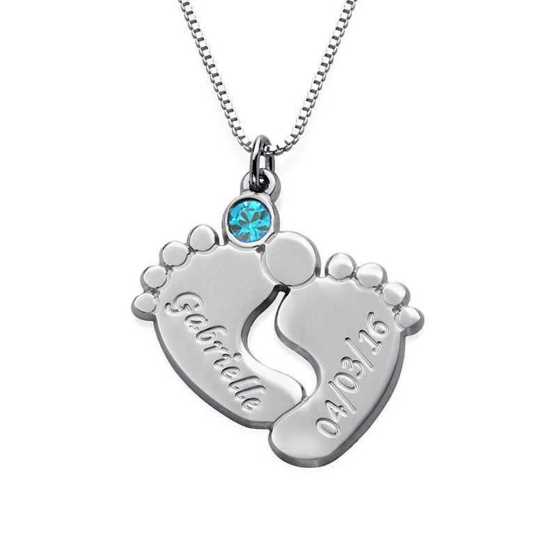 Engraved Baby Feet Necklace in Silver - 1
