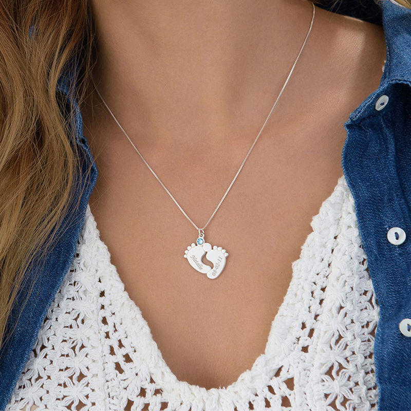 Engraved Baby Feet Necklace in Silver - 3