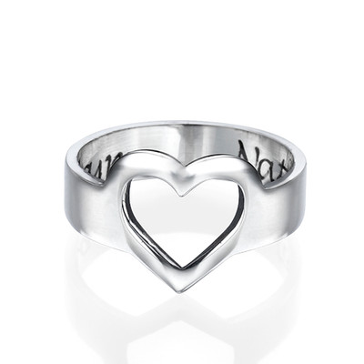 Engraved Heart Ring in Sterling Silver - 1