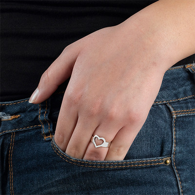 Engraved Heart Ring in Sterling Silver - 2