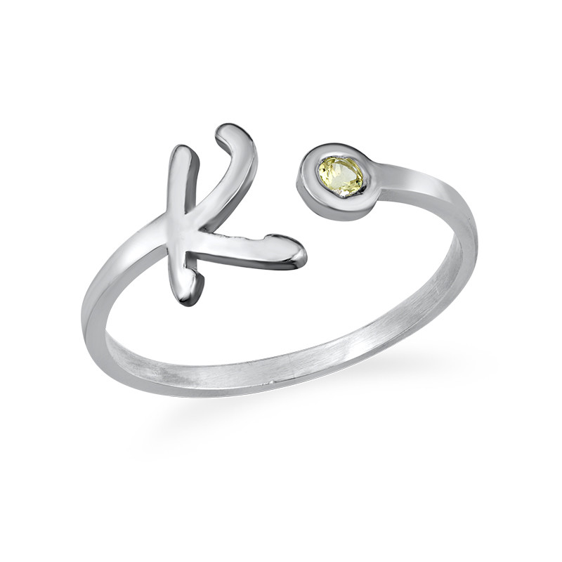 Initial Open Ring with Birthstone - 1