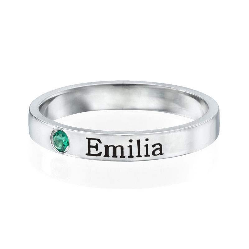 Stackable Birthstone Name Ring in Sterling Silver - 1