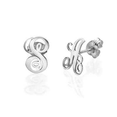 Silver Initial Stud Earrings