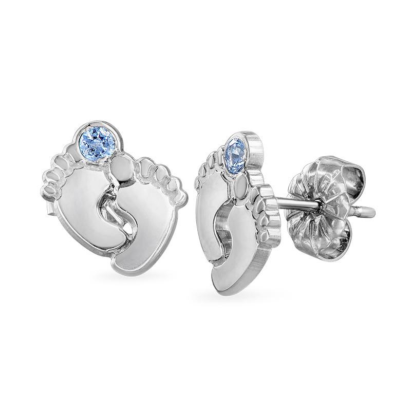 Baby Feet Jewellery - Stud Earrings with Birthstones