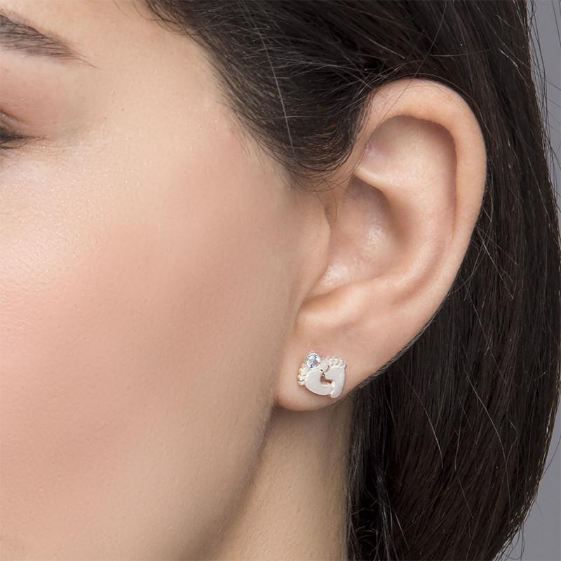 Baby Feet Jewellery - Stud Earrings with Birthstones - 2