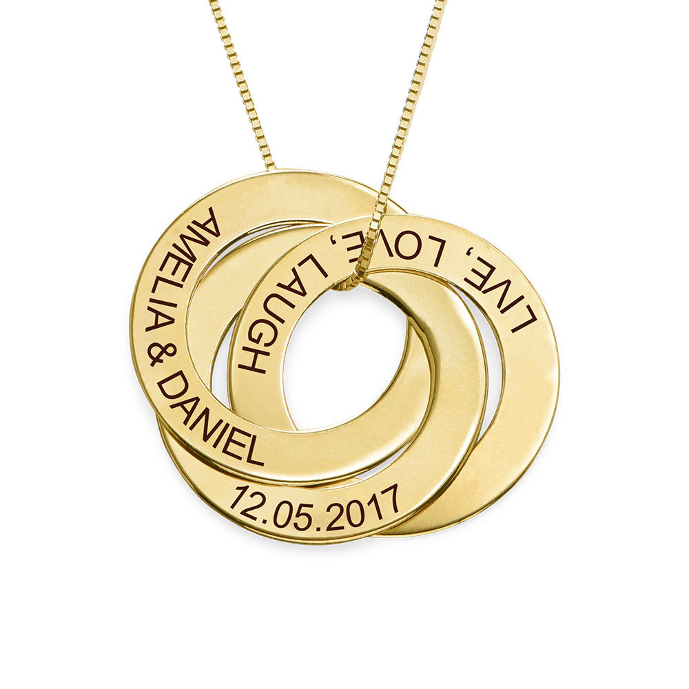 Russian Ring Necklace with Engraving in 10ct Yellow Gold - 1