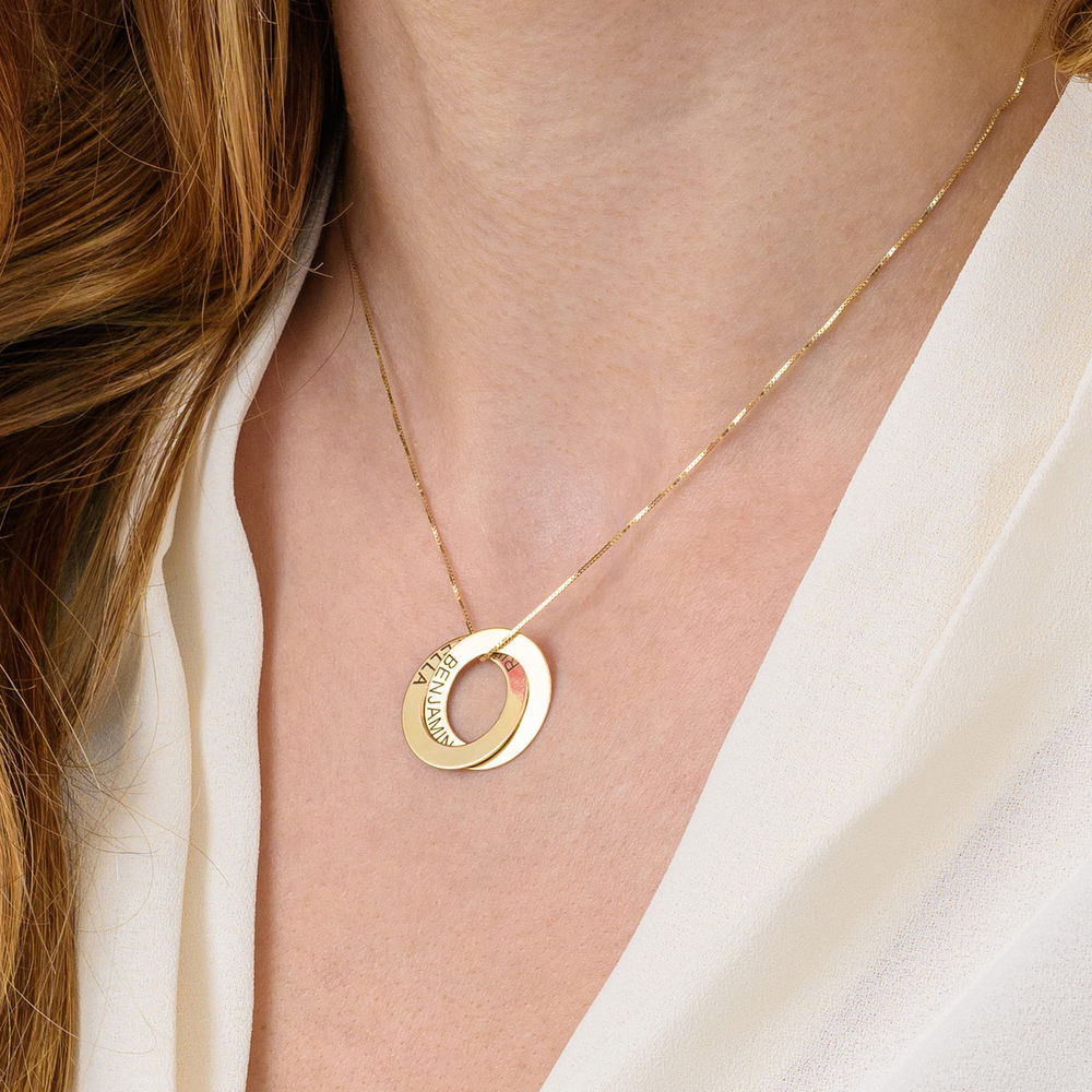 Russian Ring Necklace with 2 Rings in 10ct Yellow Gold - 4