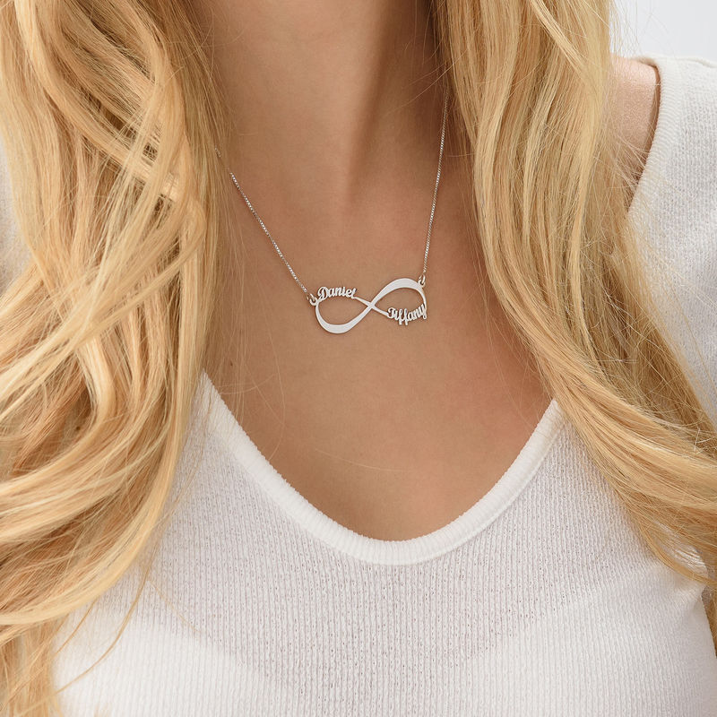 Infinity Name Necklace in 10ct White Gold - 4