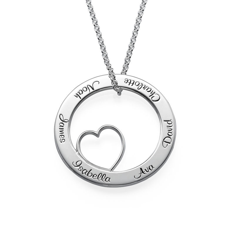 Family Love Circle Pendant Necklace in Sterling Silver