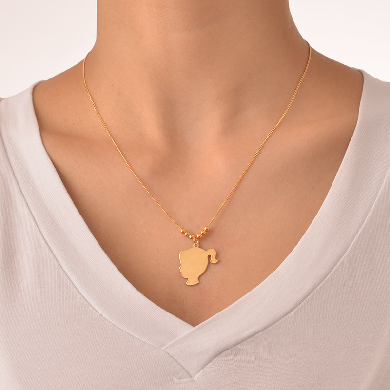 18ct Gold Plated Silhouette Necklace - 4
