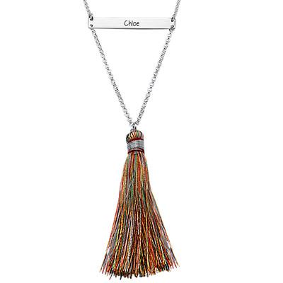Tassel Jewellery - Engraved Bar Necklace