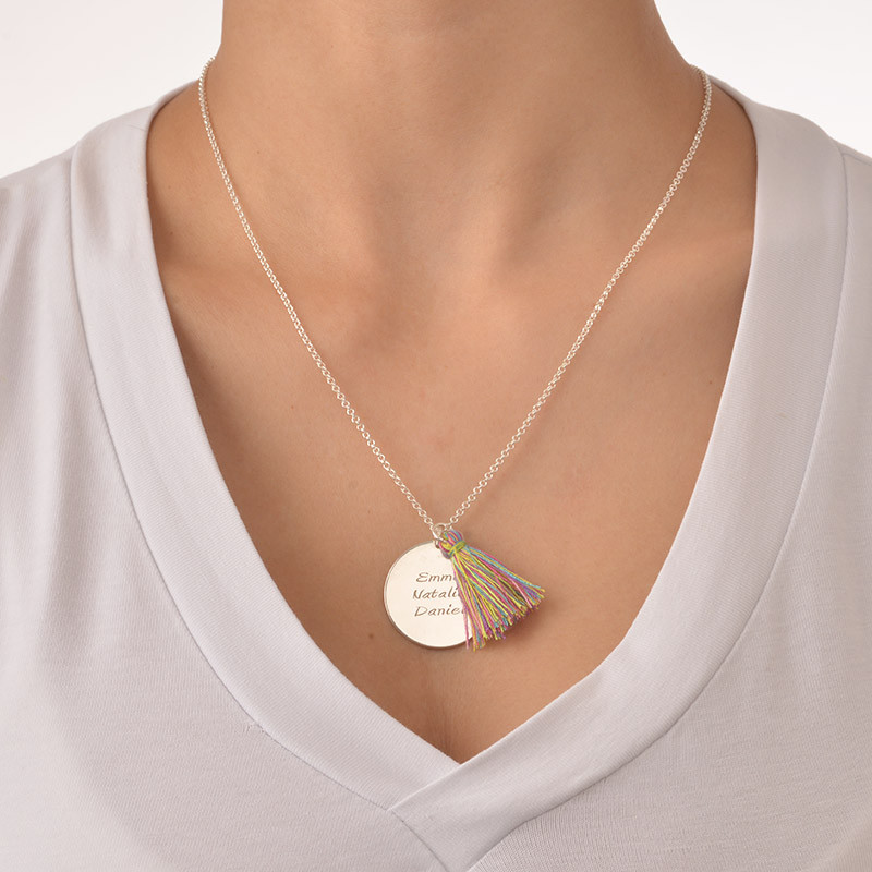 Sterling Silver Engraved Disc and Tassel Necklace - 2