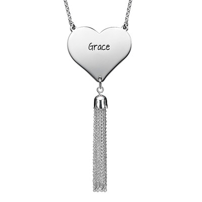 Personalised Heart Necklace in Silver with Tassel