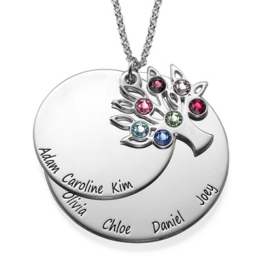 Personalised Family Tree Jewellery - Mothers Birthstone Necklace - 1