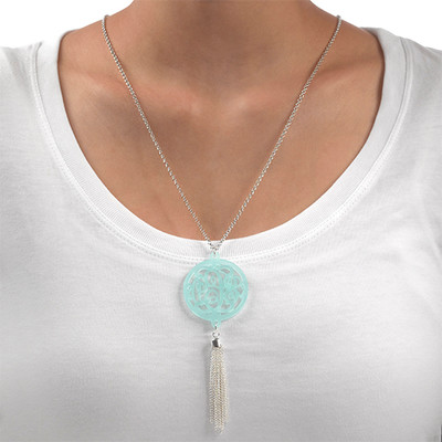 Monogram Necklace with Long Tassel - 1