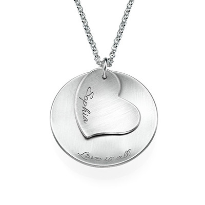 Curved Disc Necklace with a Heart Charm