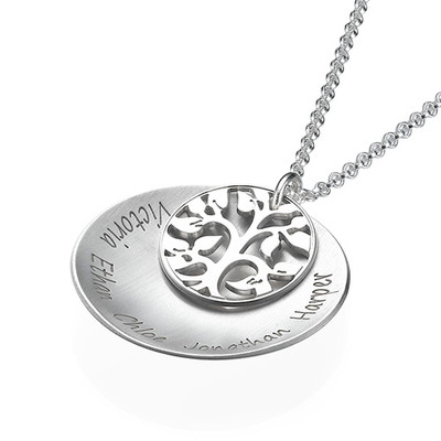 Curved Family Tree Locket Necklace - 1