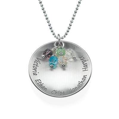 Curved Family Tree Pendant Necklace with Birthstones
