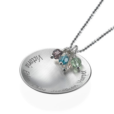Curved Family Tree Pendant Necklace with Birthstones - 1