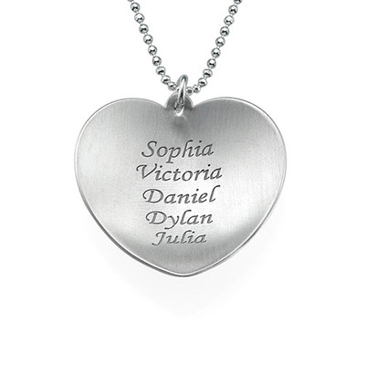 Curved Heart Family Necklace