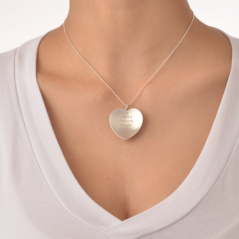 Curved Heart Family Necklace - 2