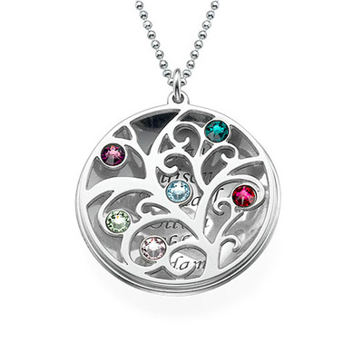 Curved Filigree Family Tree Necklace with Birthstones - 1