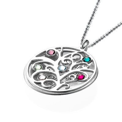 Curved Filigree Family Tree Necklace with Birthstones - 2