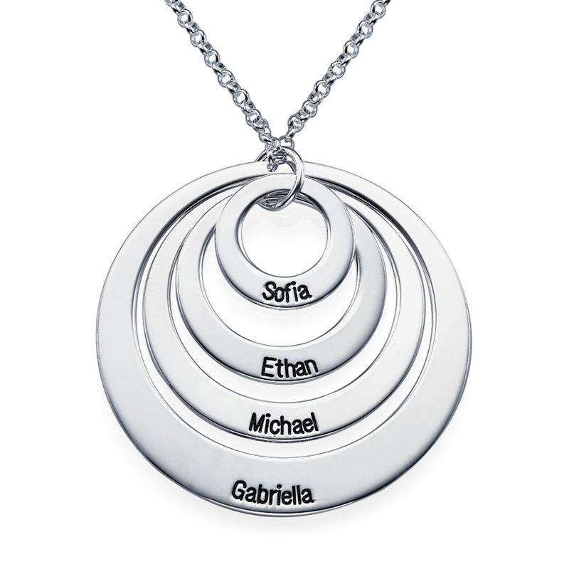 Four Open Circles Necklace with Engraving in Sterling Silver
