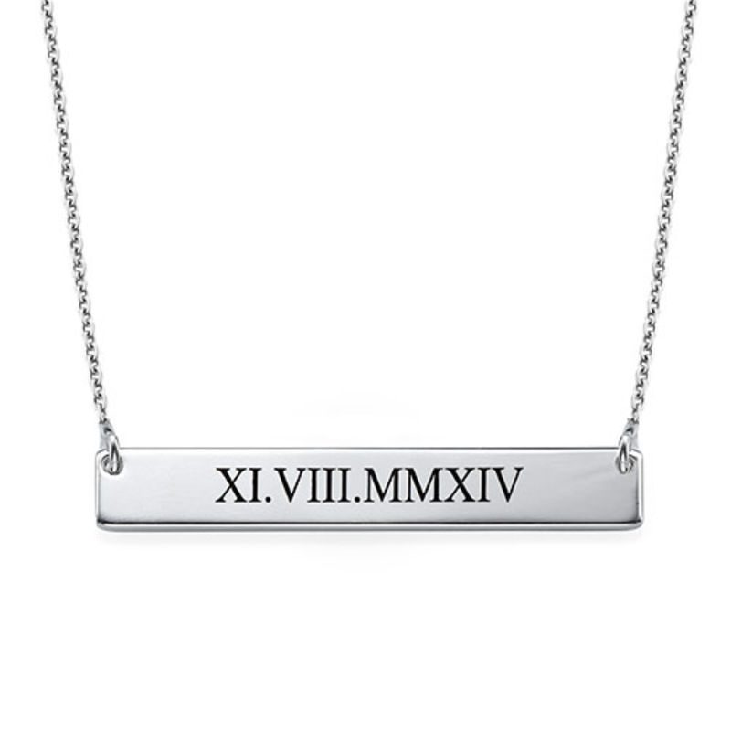 Roman Numeral Bar Necklace