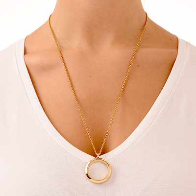 Gold Plated Round Locket Necklace - 2