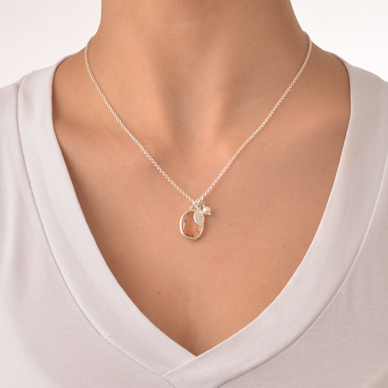 Glass Stone Pendant Necklace with Initial Leaf Charm - 3