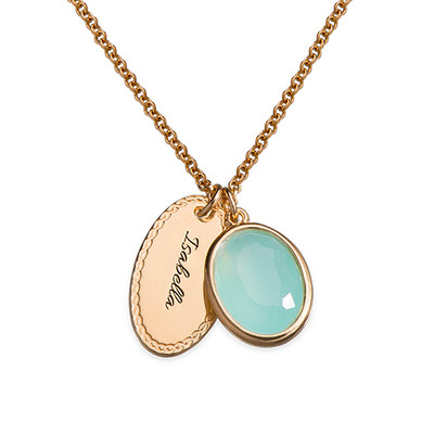 Glass Stone Pendant with Engraved Oval Disc Charm