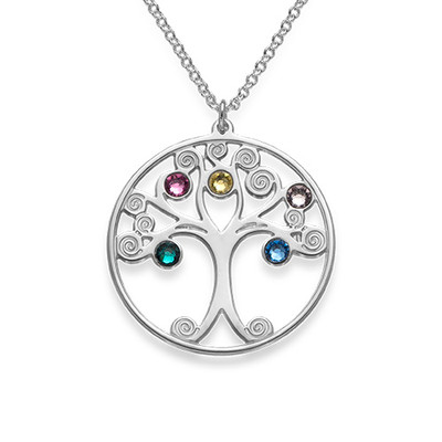 Silver Tree of Life Necklace with Birthstones