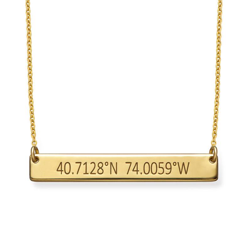 Engraved Coordinates Bar Necklace