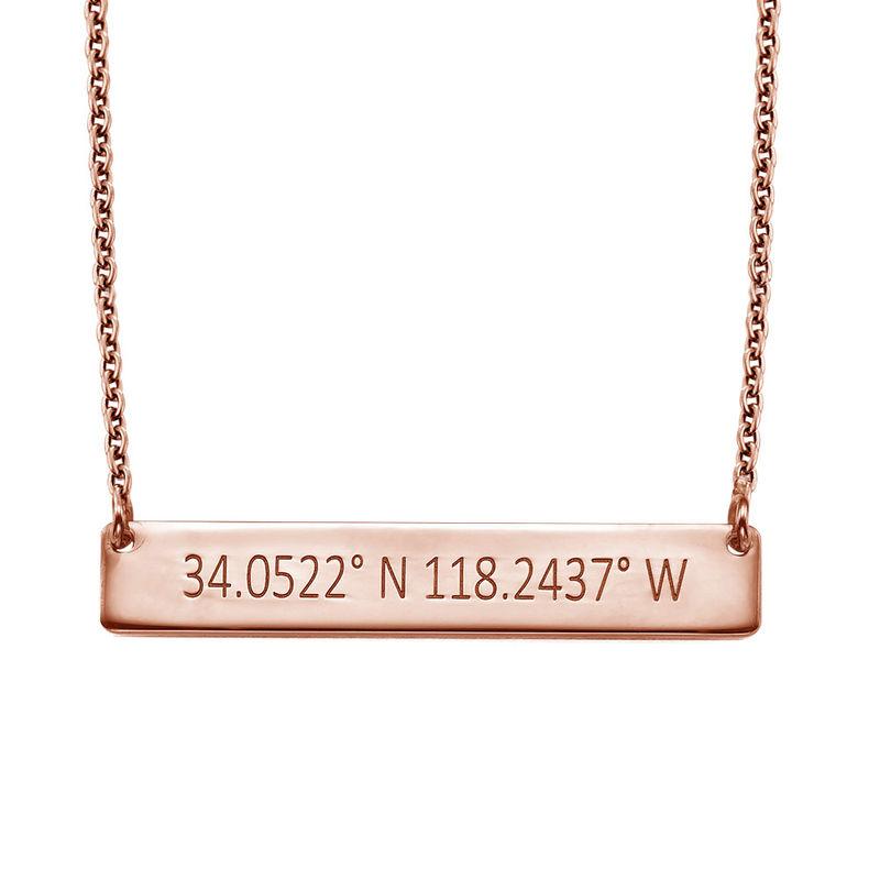 Engraved Coordinates Bar Necklace - Rose Gold Plating