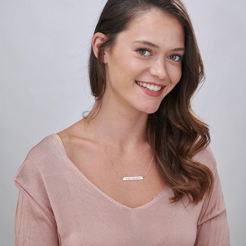 Engraved Coordinates Bar Necklace - Rose Gold Plating - 1