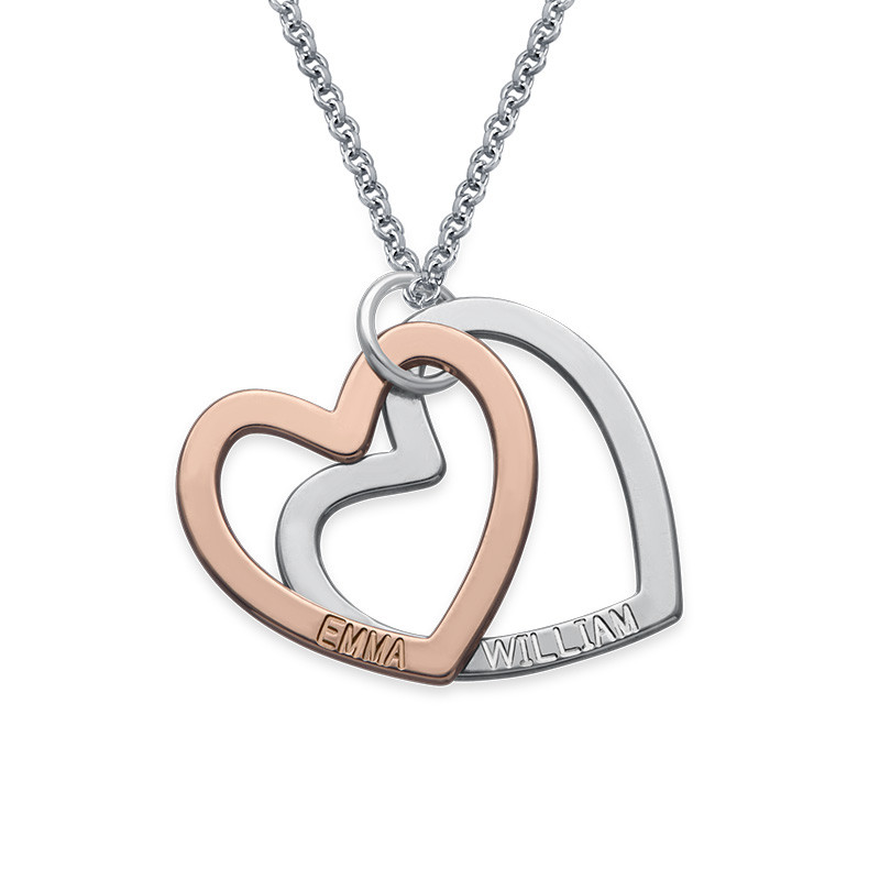 Multi-Tone Two Heart Necklace - 1
