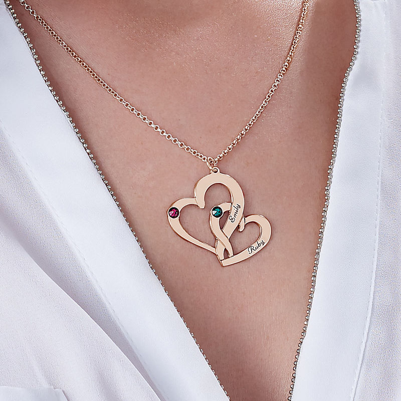 Engraved Two Heart Necklace with Rose Gold Plating - 3