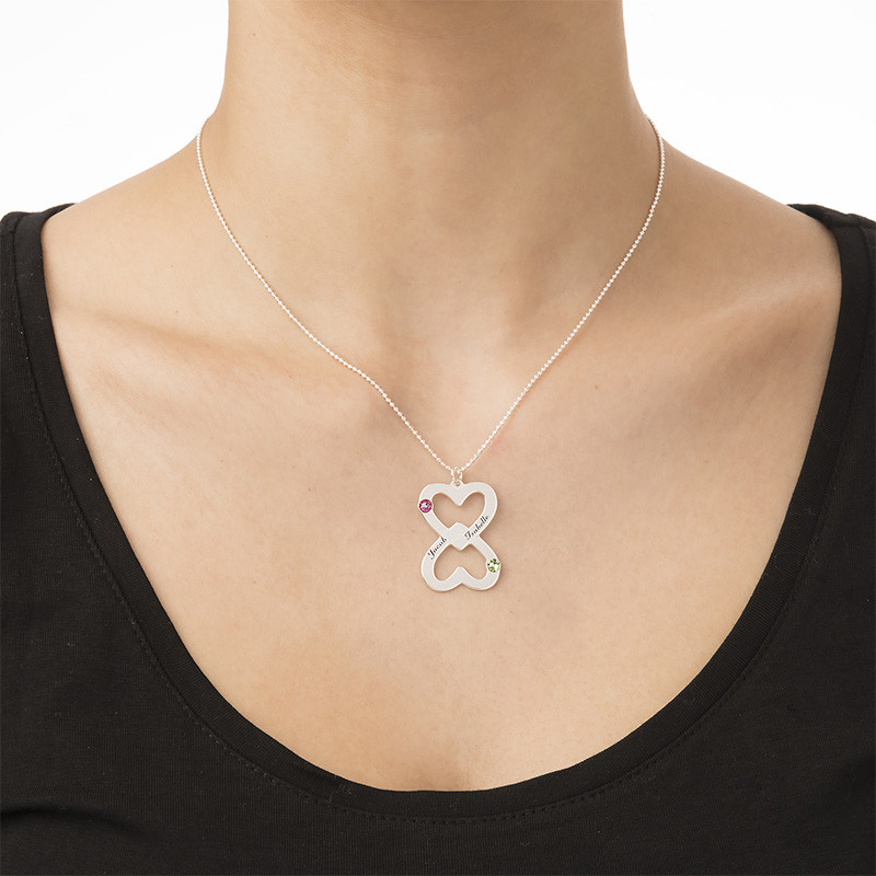 Engraved Double Heart Necklace with Birthstones - 2